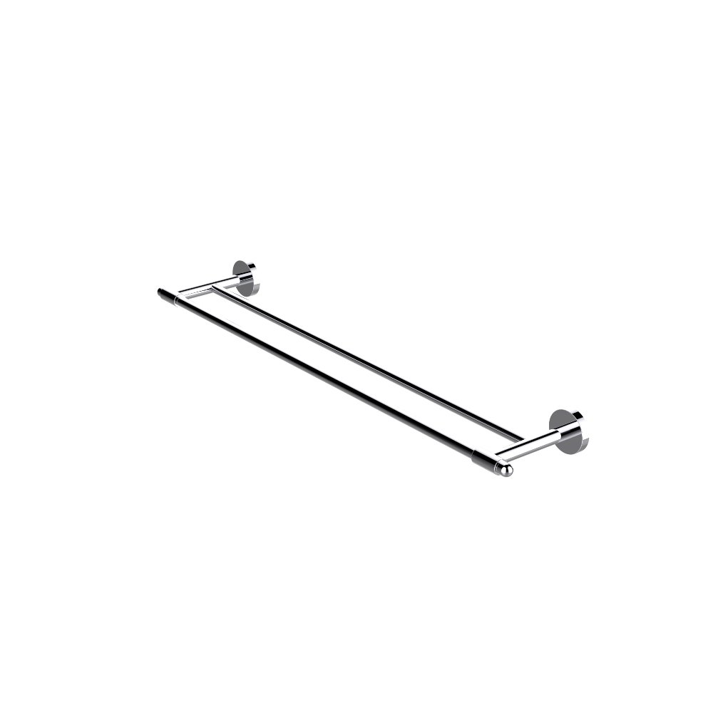 EVAC022BN A Main - Eviva Bullet Double Towel Bar Round Design (Brushed Nickel) Bathroom Accessories
