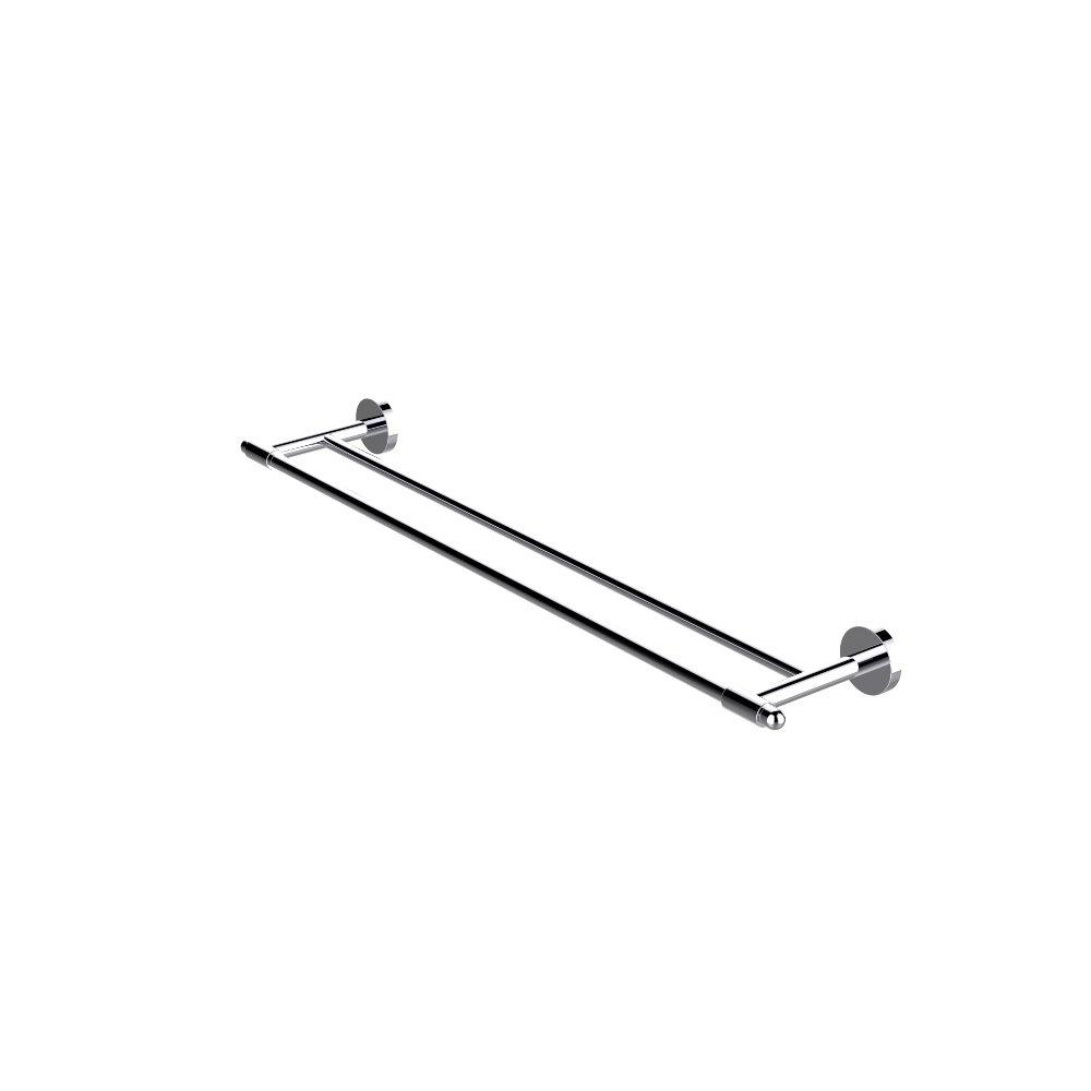 EVAC022CH A Main - Eviva Bullet Double Towel Bar Round Design (Chrome) Bathroom Accessories