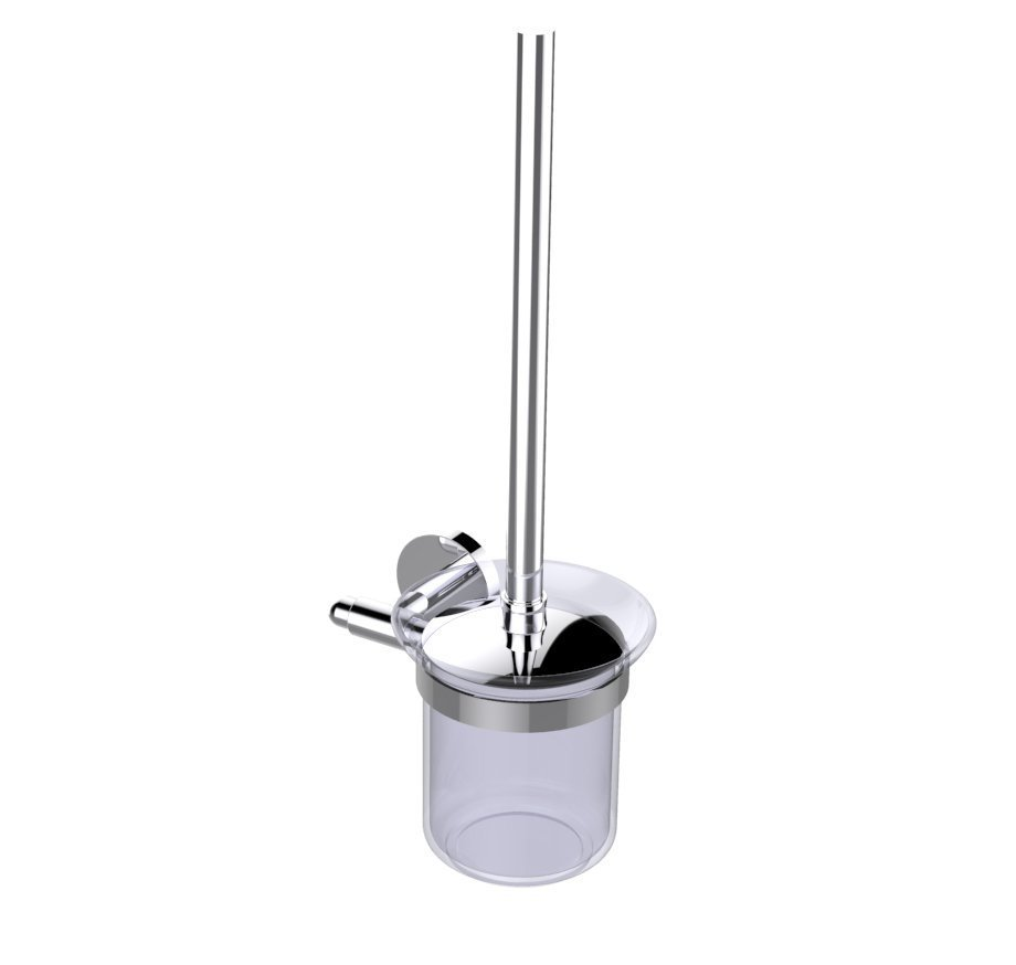 EVAC090BN A Main - Eviva Cleansi Round Design Toilet Brush (Brushed Nickel) Bathroom Accessories