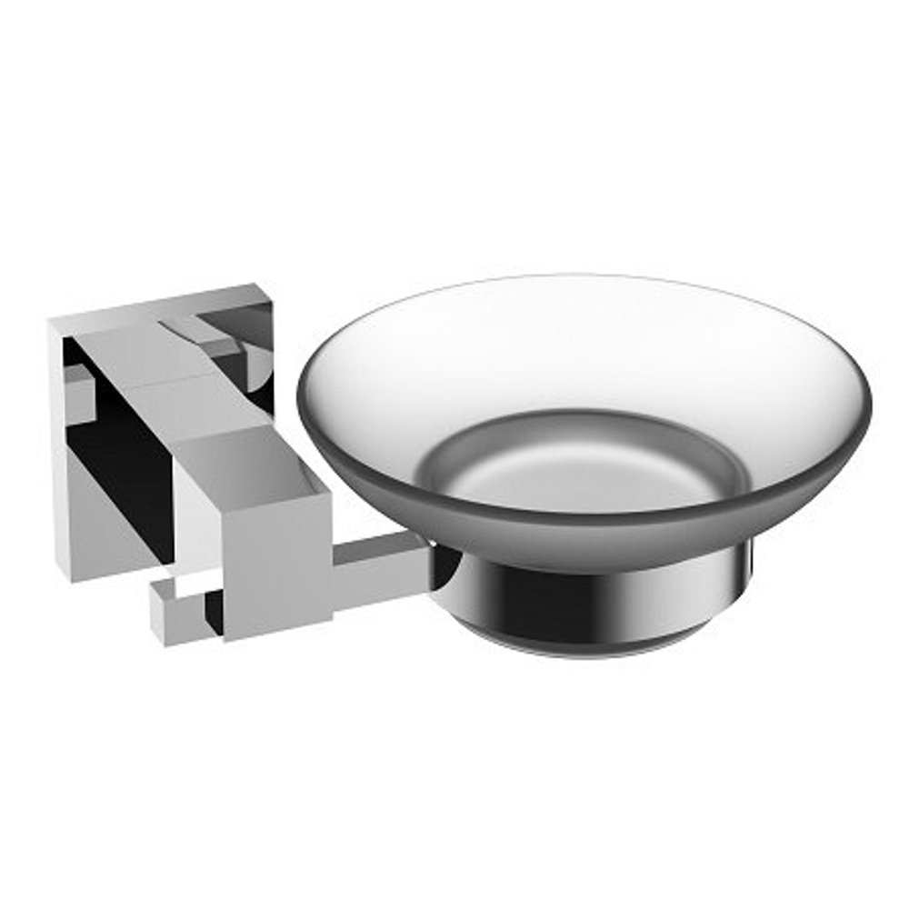 EVAC1070BN A Main - Eviva Panera Frosted Glass Soap Dish, Holds As a Wall Mount (Brushed Nickel), Bathroom Soap Holders