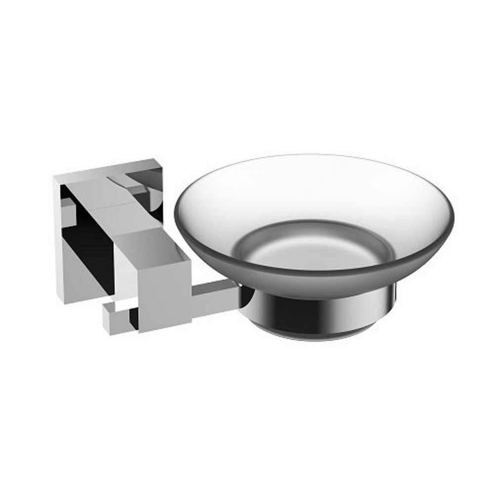 Eviva Panera Frosted Glass Soap Dish, Holds As a Wall Mount (Chrome ...