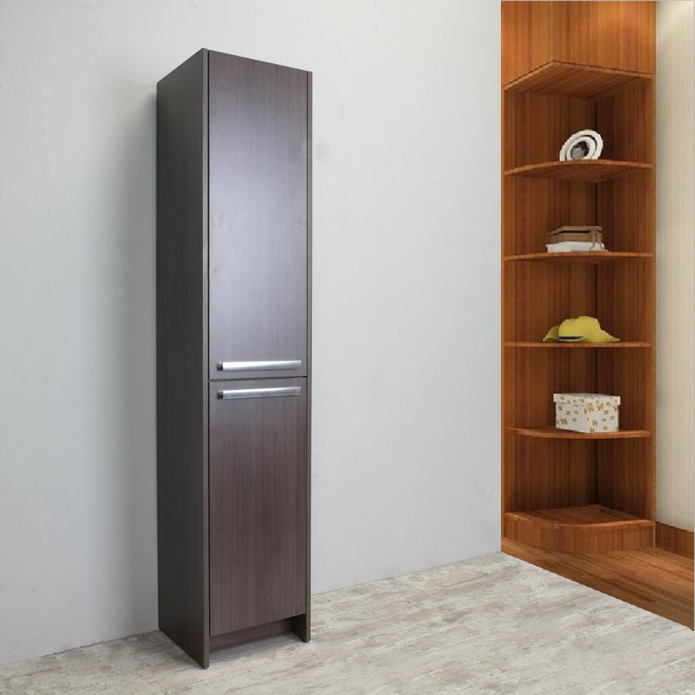 Eviva lugano 16 grey oakmodern bathroom linen side for Modern bathroom cabinets storage