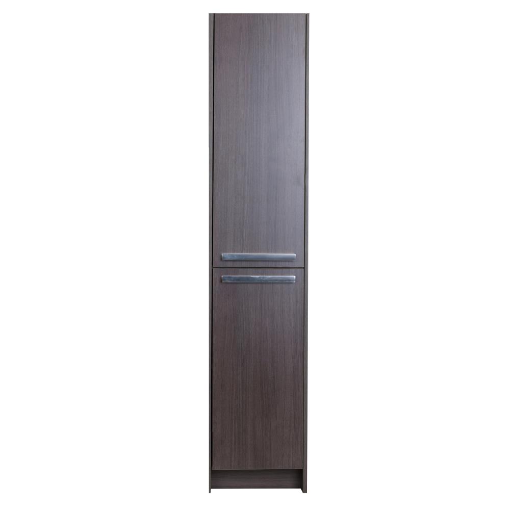 "EVCB1600 16GOK A Main - Eviva Lugano 16"" Grey-OakModern Bathroom Linen Side Cabinet Storage"