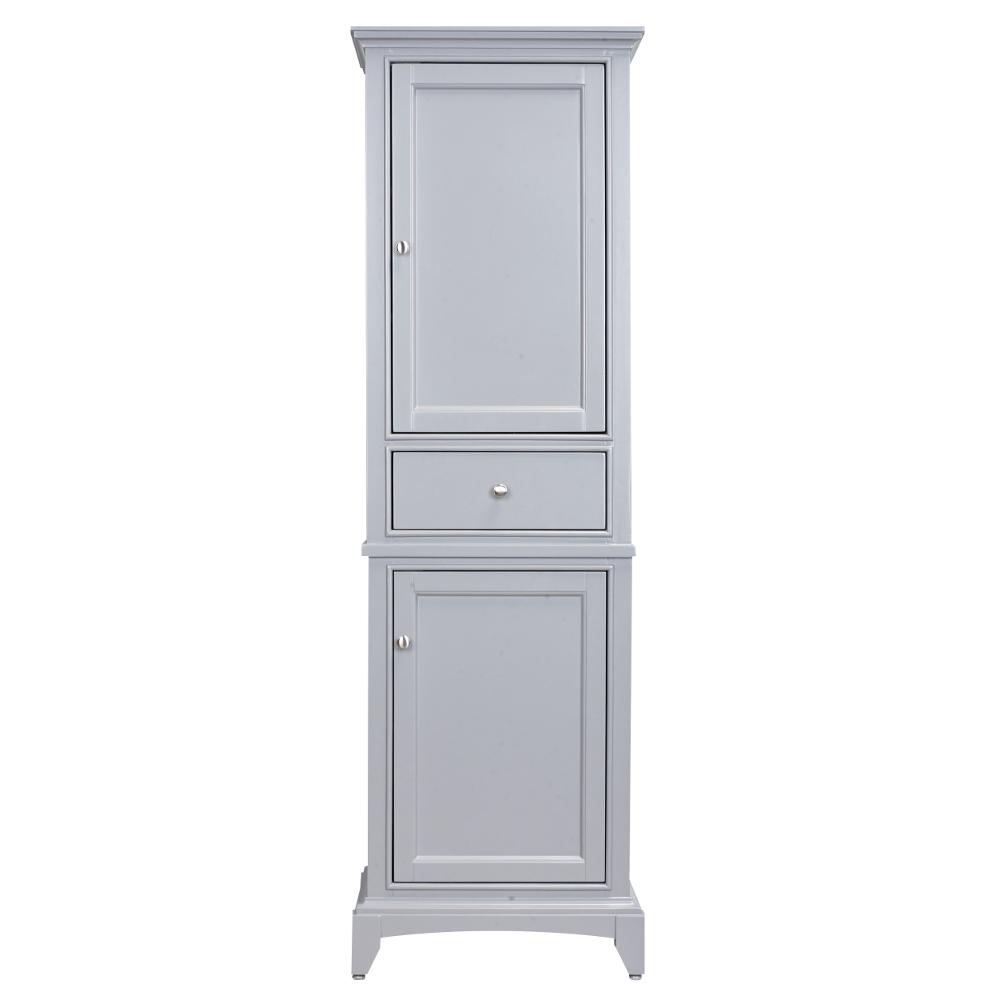 """EVCB709 24GR A Main - Eviva Elite Stamford 24"""" Grey Solid Wood Side/Linen Bathroom Cabinet"""