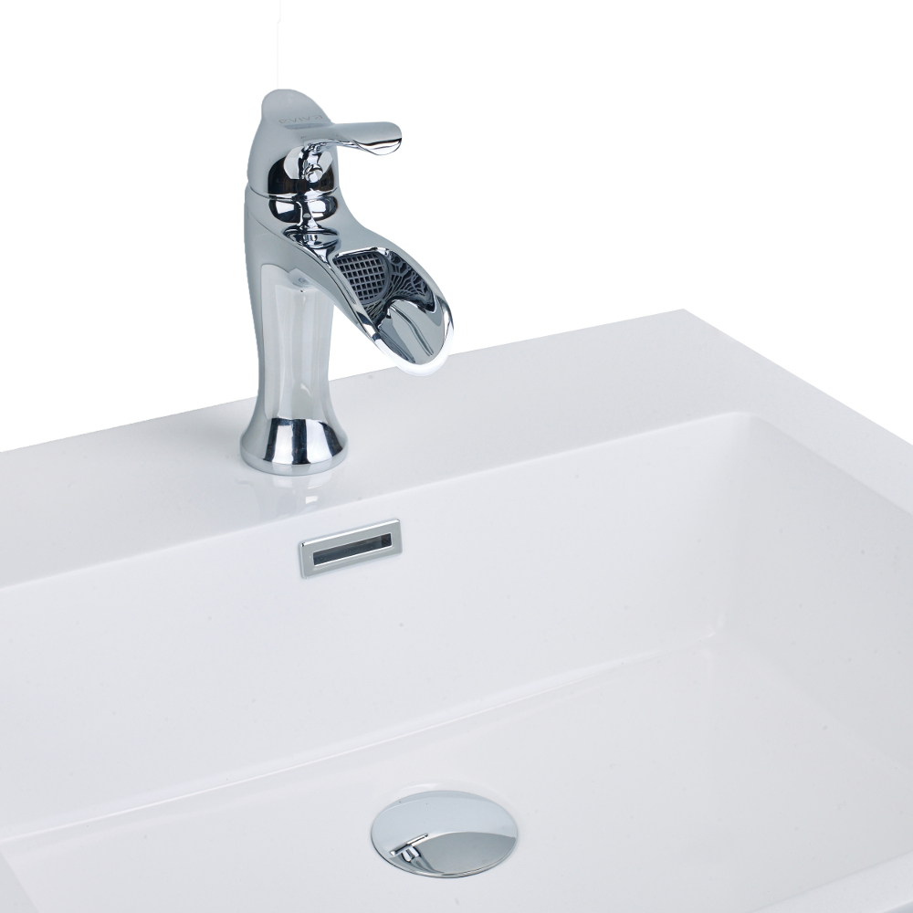 EVFT164CH A Main - EVIVA Swan Luxury Water-fall Single Handle (Lever) Bathroom Sink Faucet (Chrome)