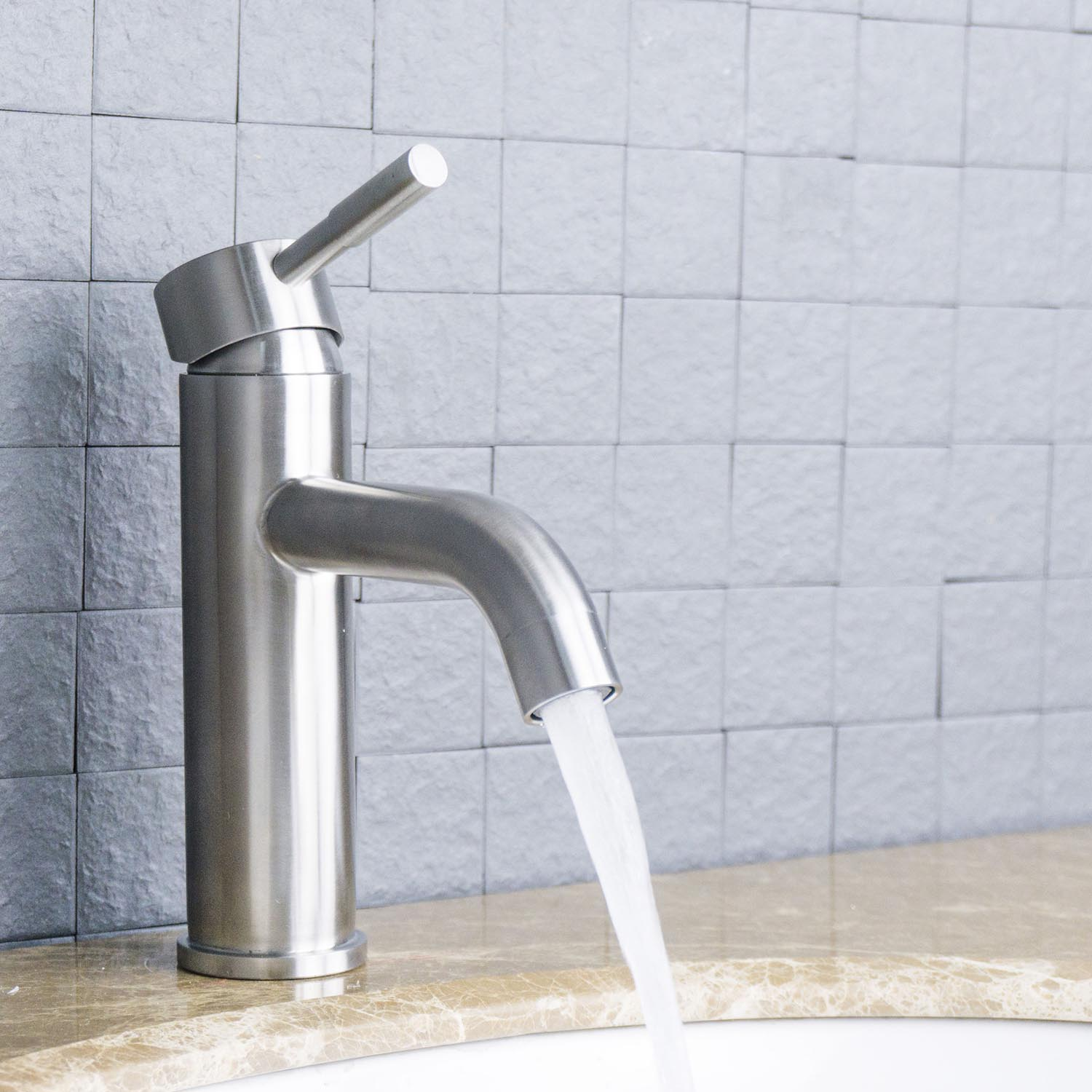 Eviva Ramo Single Hole One Handle Bathroom Faucet in Brushed Nickel ...