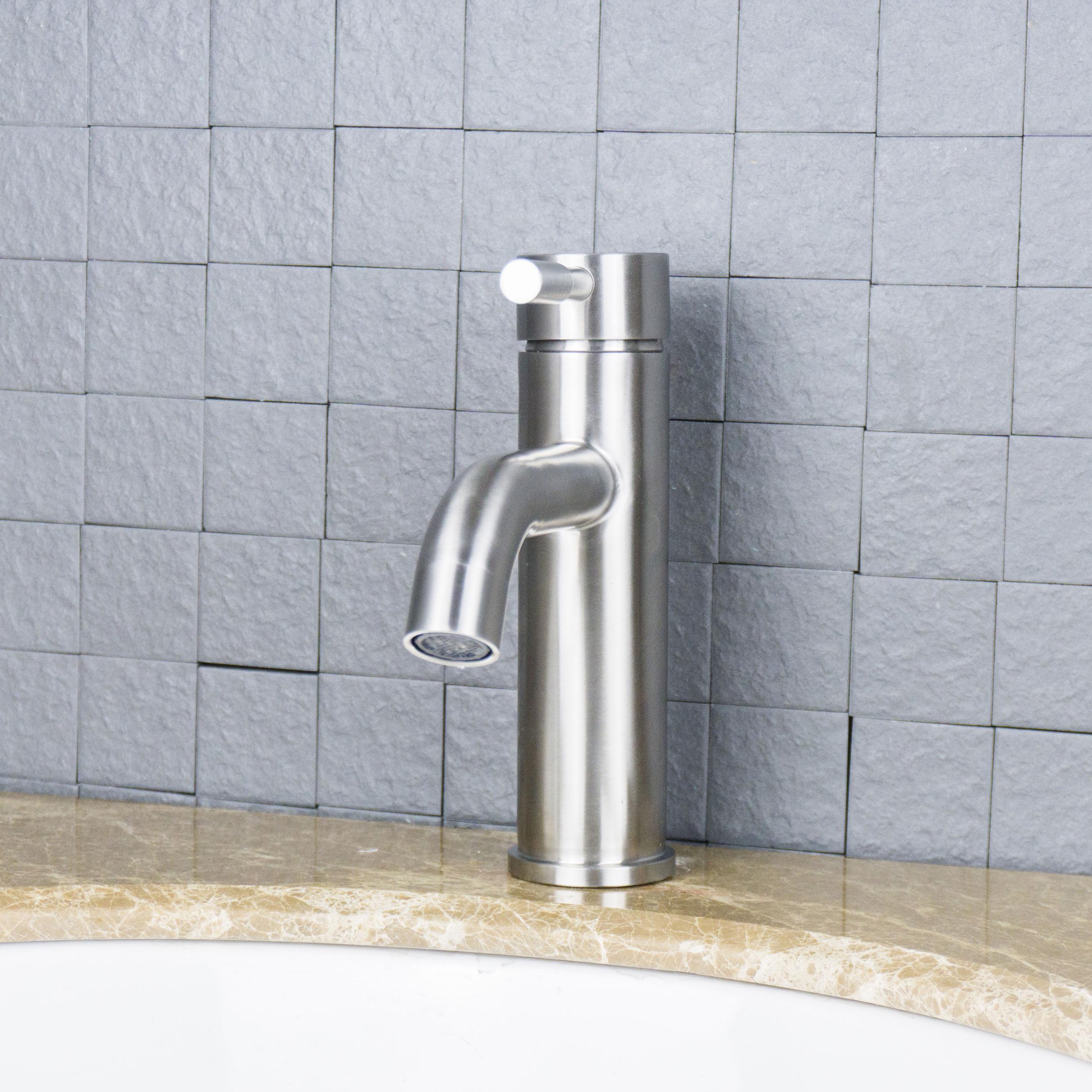 Eviva Ramo Single Hole One Handle Bathroom Faucet In Brushed Nickel - Nickel finish bathroom faucets