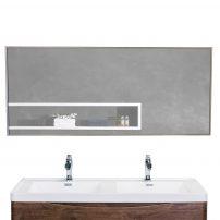 "EVMR 47X20 MetalFrame A Main 202x202 - Eviva Sax 47"" Brushed Metal Frame Bathroom Wall Mirror"