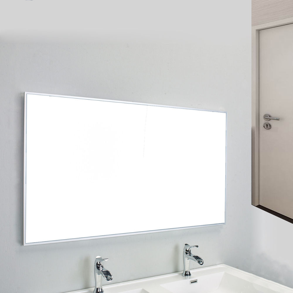 Eviva Sax 48u2033 Brushed Metal Frame Bathroom Wall Mirror