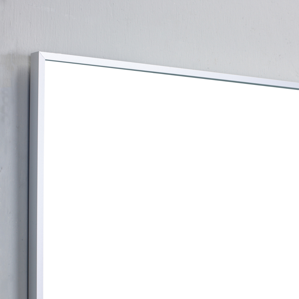 Eviva sax 48 brushed metal frame bathroom wall mirror for Metal frame mirror