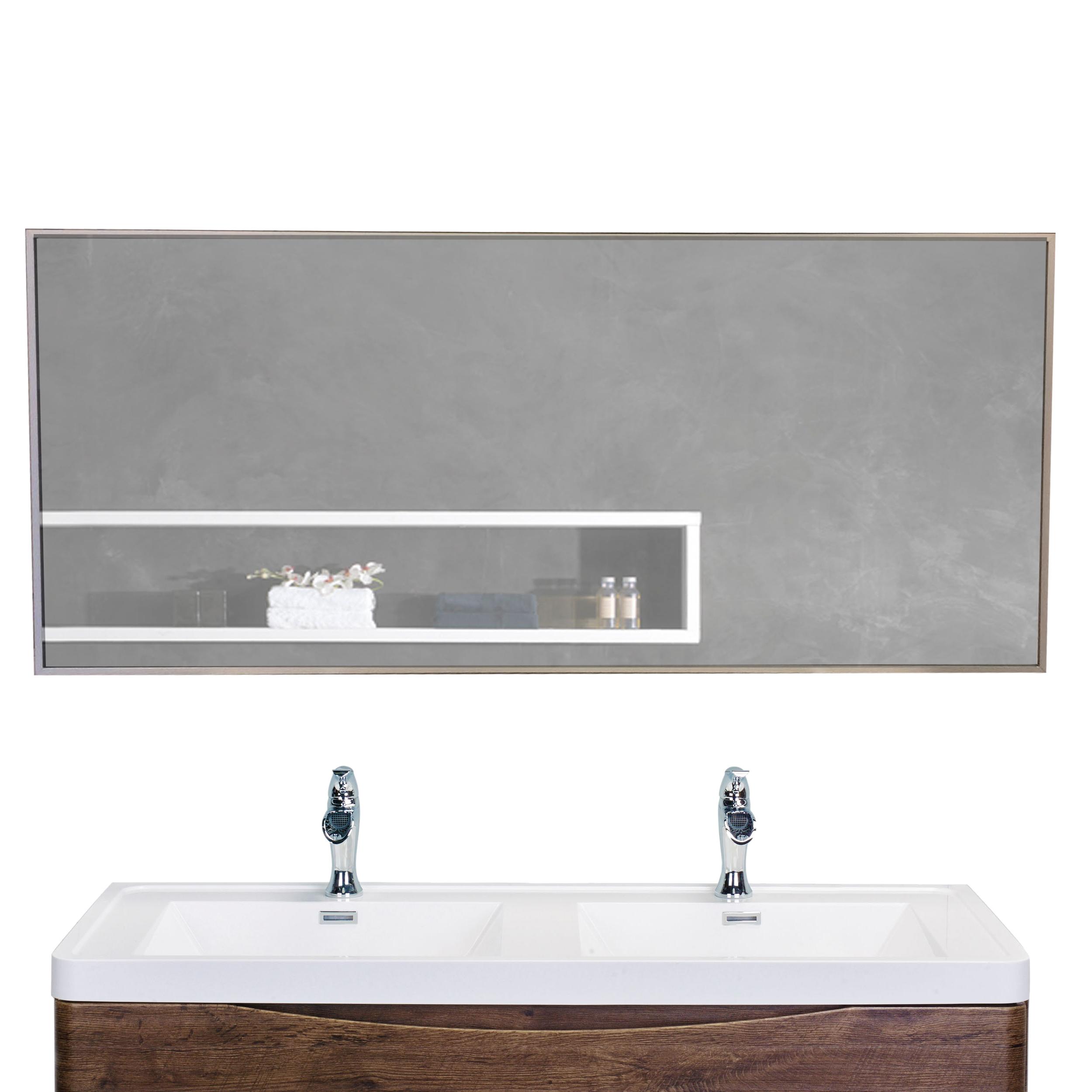 EVMR01 57X20 MetalFrame A Main - Eviva Sax 57X20 Brushed Metal Frame Bathroom Wall Mirror