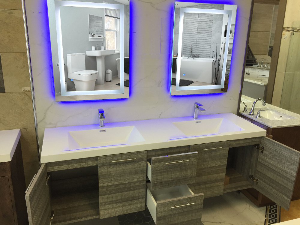 Modern Bathroom Vanity Led Light Crystal Front Mirror: Eviva EVMR03-72X30-LED Lite Wall Mounted Modern Bathroom