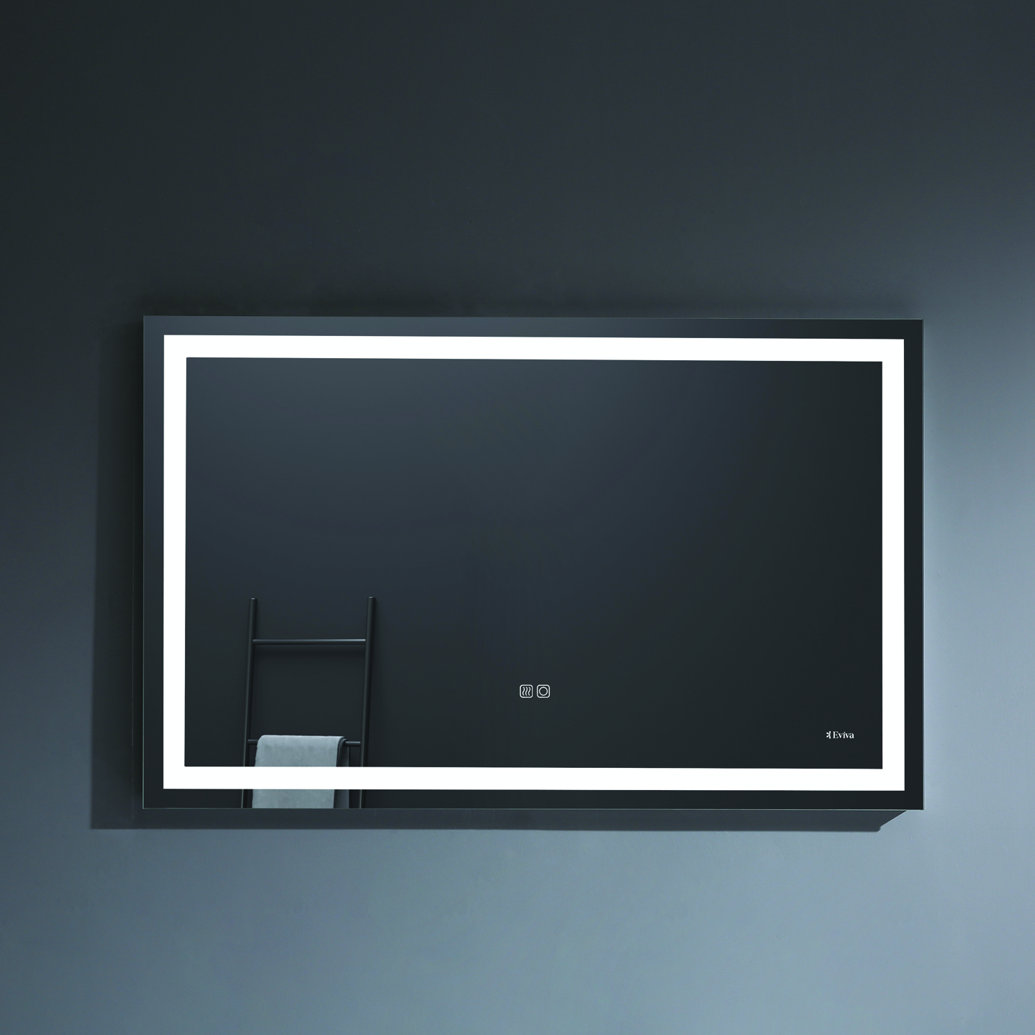 EVMR34 48X30 LED A Main - Eviva EVMR34-48X30-LED Lite Wall Mounted Modern Bathroom Vanity Backlit Lighted LED Mirror