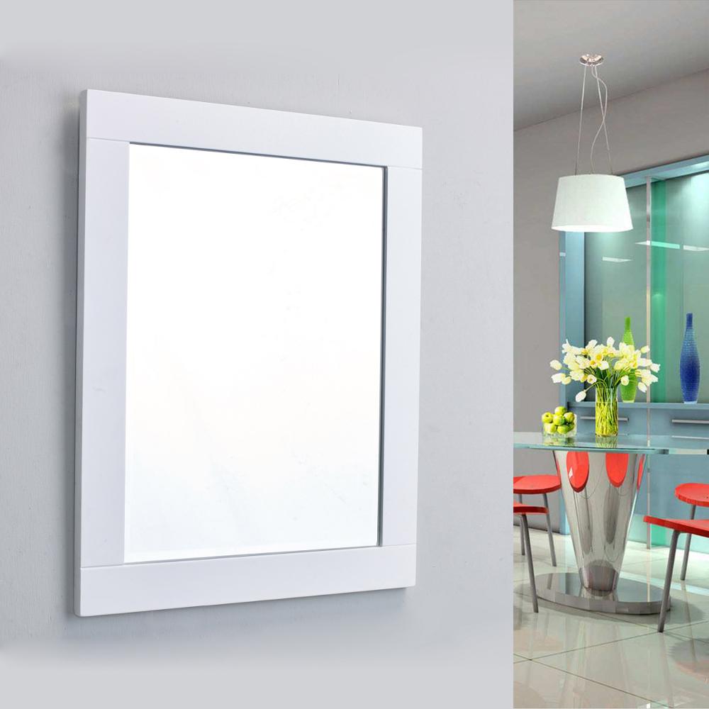 "eviva aberdeen 24"" white framed bathroom wall mirror"