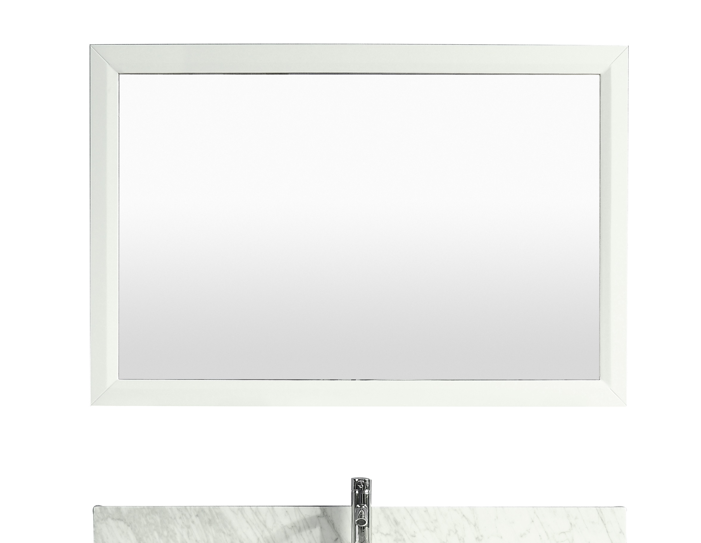 Eviva aberdeen 48 white framed bathroom wall mirror for White framed mirror