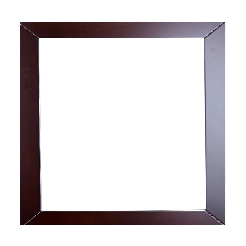 EVMR514 30X30 TK A Main - Eviva New York Bathroom Vanity Mirror Full Frame Teak(Dark Brown) 30X31 Wall Mount