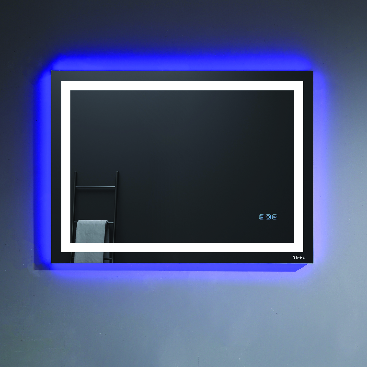 "EVMR52 42X30 LED A Main - Eviva EVMR52-42X30-LED Deco Piece Wall Mounted Lighted Bathroom Vanity, Backlit LED Mirror with Frame Lights, 42"" W X 30"" H"