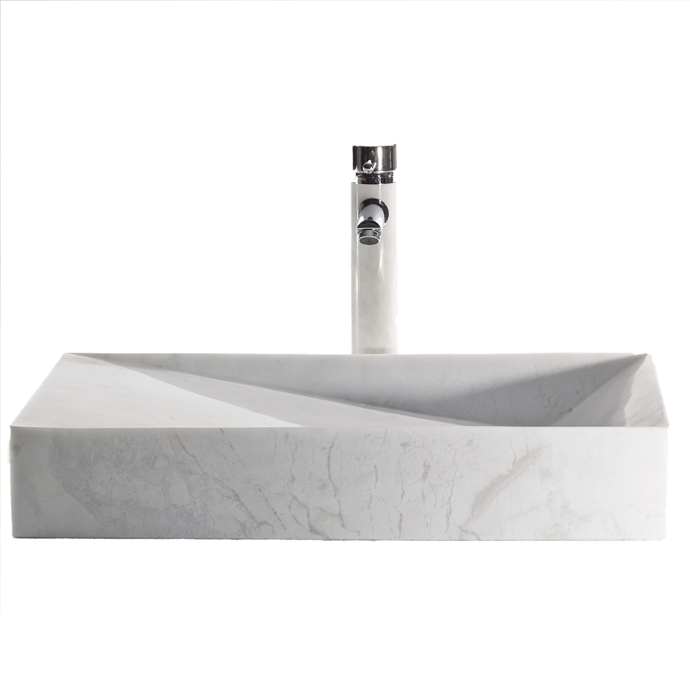 EVSK21X15 WH Stone A Main - Eviva Slope 21 in. White Carrara Marble Vessel Sink