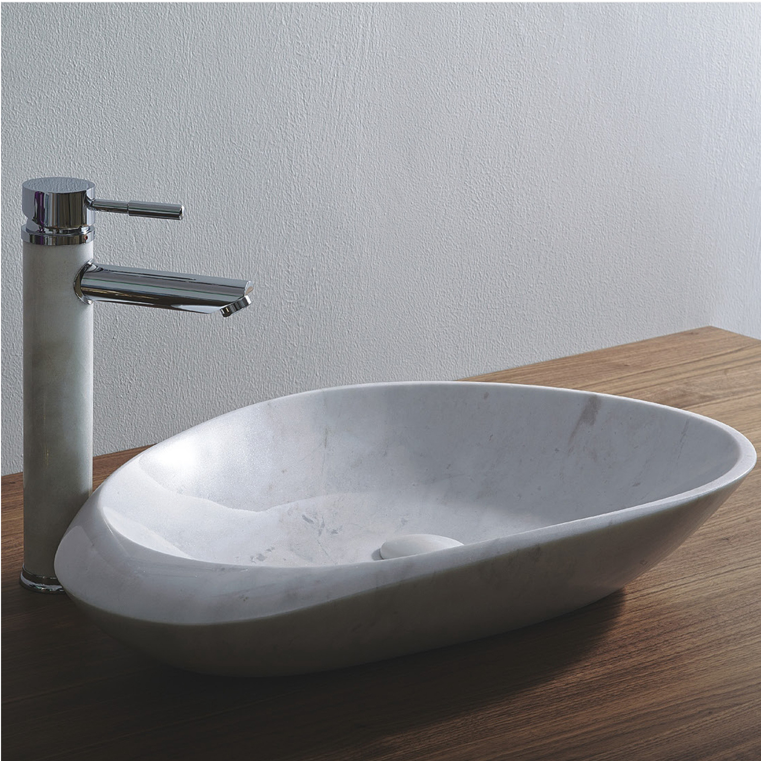 White Carrara Marble Vessel Sink