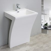 """EVSK7 24WH A 01 202x202 - Eviva Numero 24"""" White Bathroom Vanity One Piece High Quality Acrylic Consule/Pedestal"""