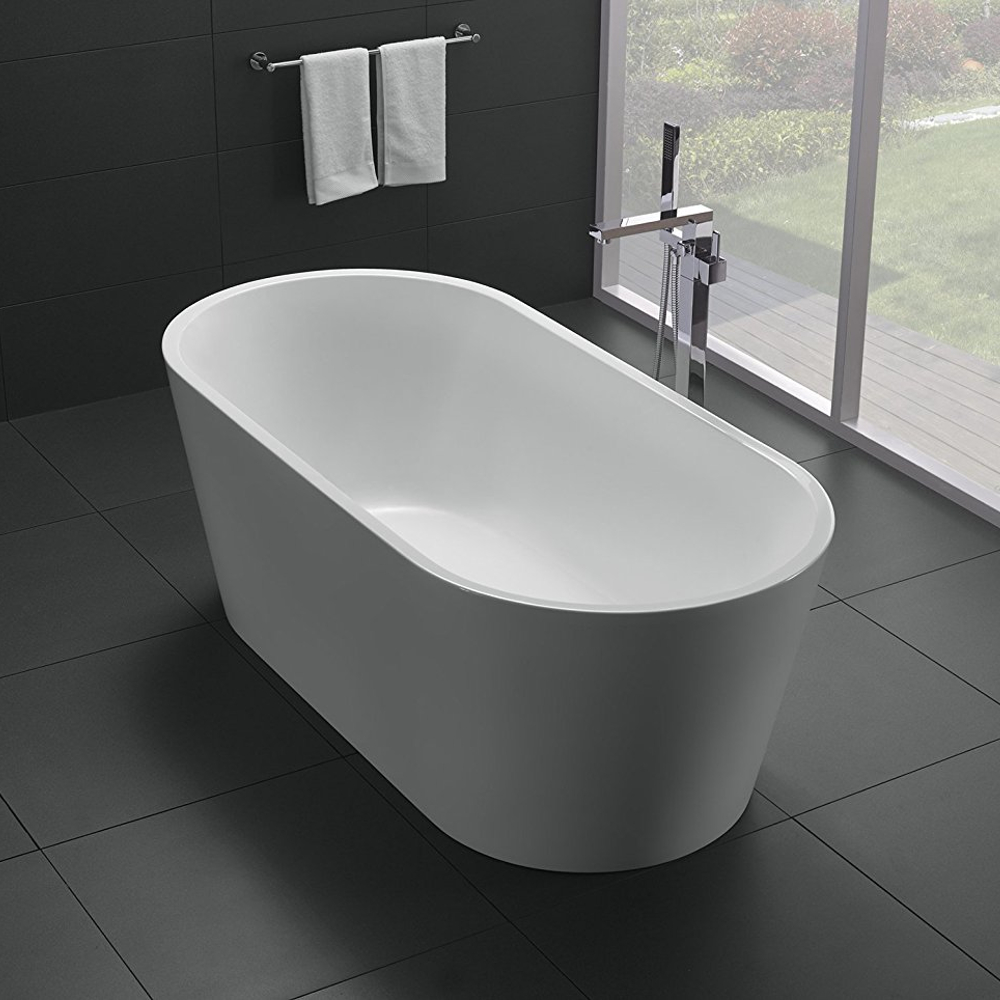 Eviva alexa 60 white acrylic free standing bathtub for How long is a standard bathtub