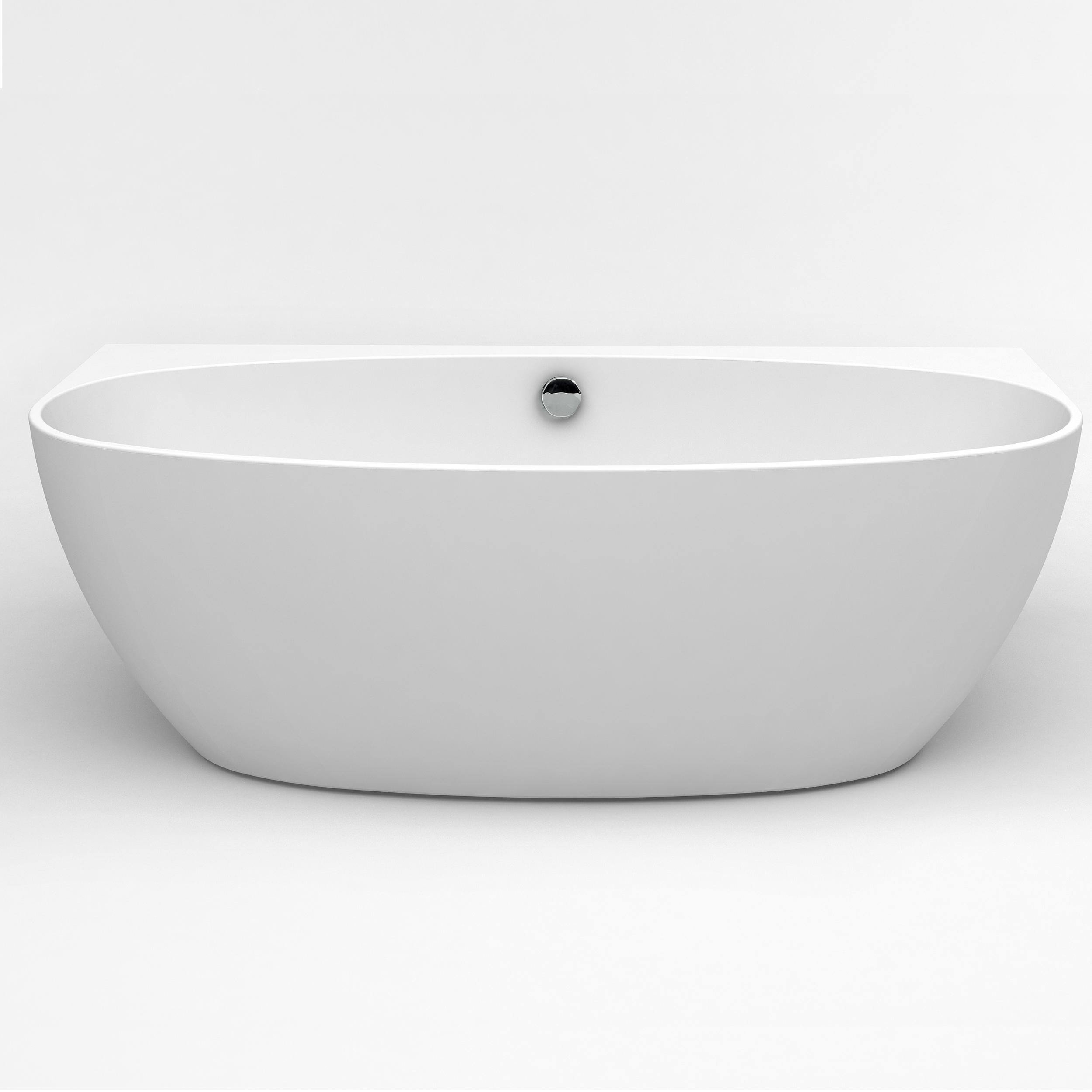 "EVTB1065 60WH A Main - Eviva Jasmine 60"" Freestanding White Acrylic Bathtub"