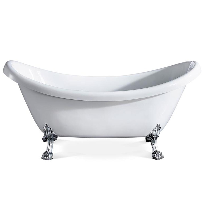 EVTB4303 59WH A Main - Eviva Stella 59 in. White Acrylic Clawfoot Bathtub
