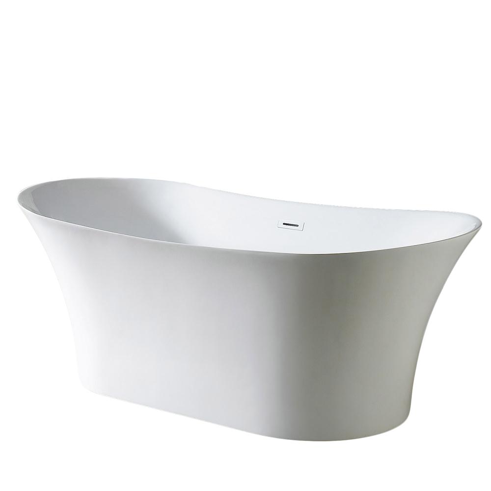 EVTB6272 71WH A Main - Eviva Skylar Freestanding 71 in. Acrylic Bathtub in White