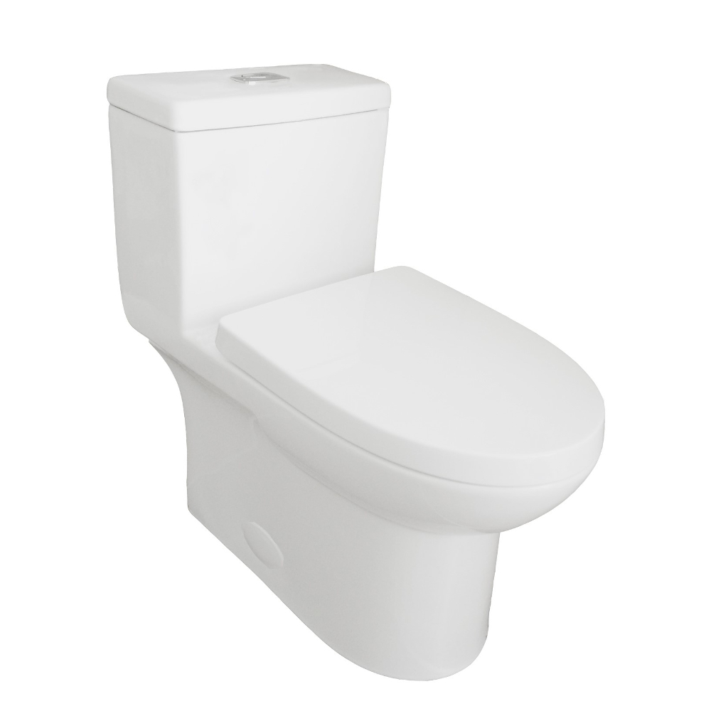 EVTL547 A Main - Eviva Standy Elongated Cotton White One Piece Toilet with Soft Closing Seat Cover, High efficiency, Water Sense & CUPC certified with the united states plumbing standards