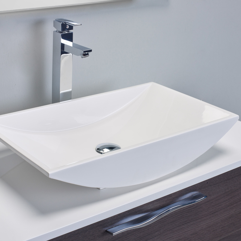 Eviva Zenvi 39 Grey Oak Modern Bathroom Vanity Set With Overmount White Acrylic Sink
