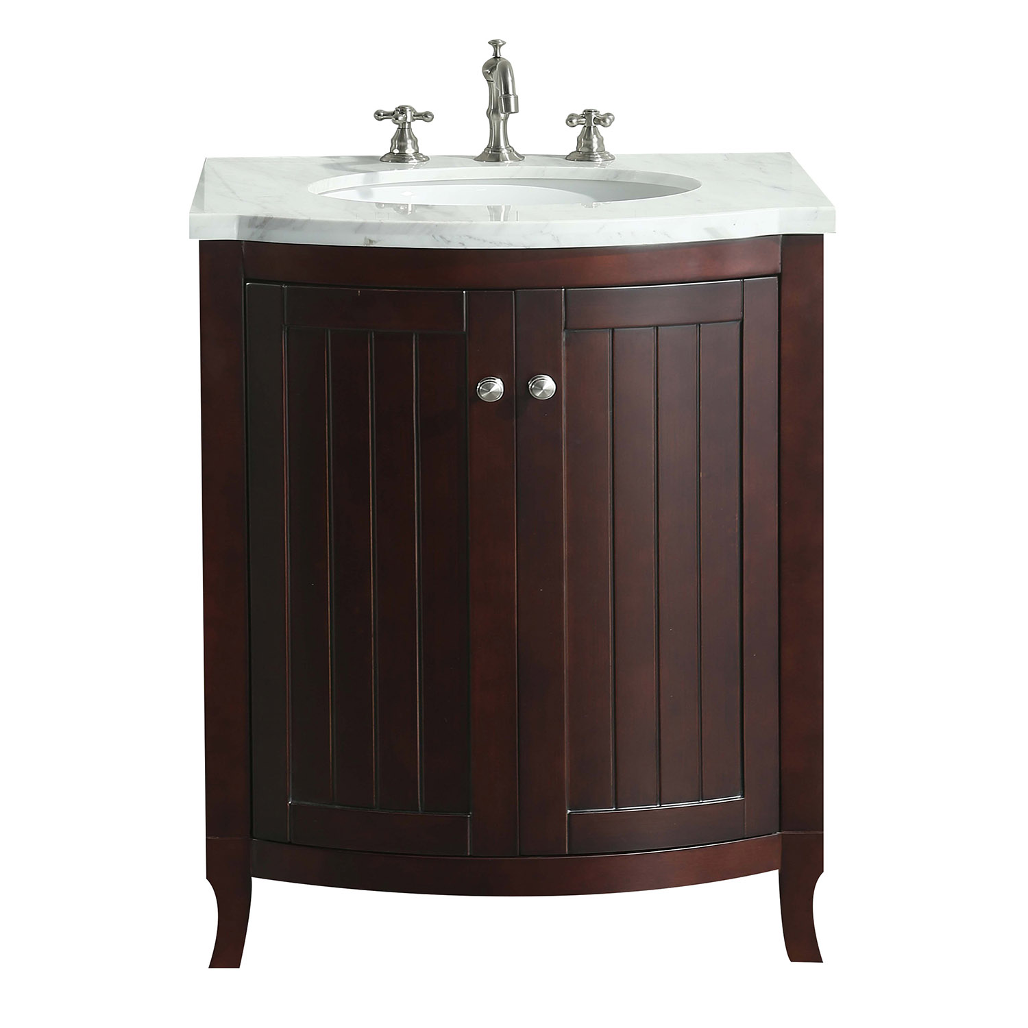 "EVVN04 24TK A Main - Eviva Odessa Zinx+ Dark Teak 24"" Bathroom Vanity with White Carrera Marble Counter-top and Porcelain Sink"