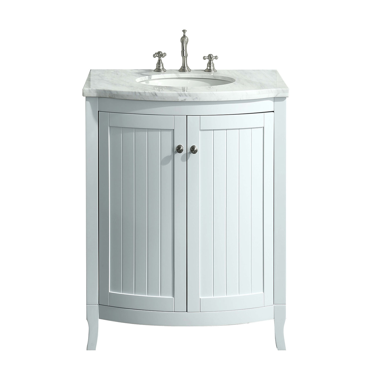 Eviva Odessa Zinx 24 White Bathroom Vanity With Carrera Marble Counter Top And Porcelain Sink