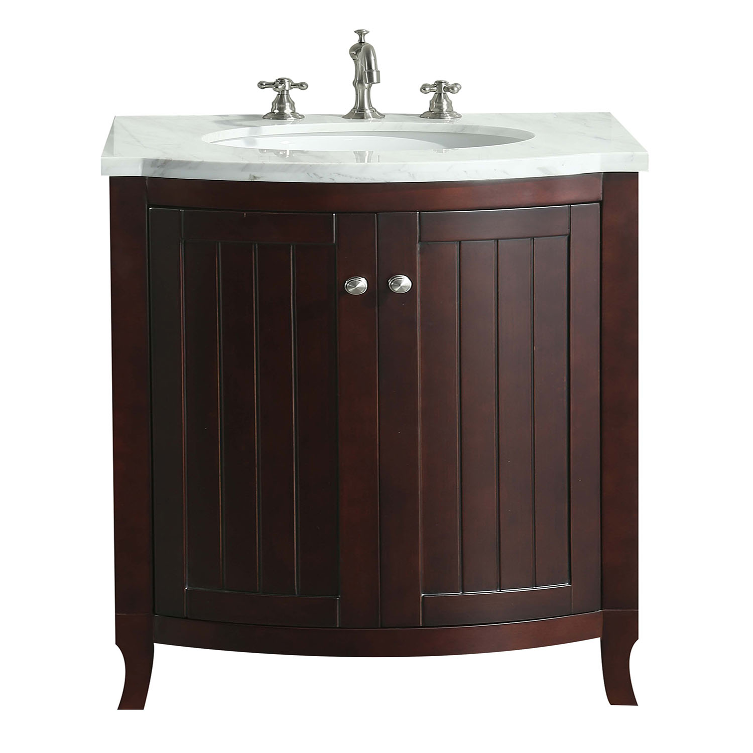 "EVVN04 30TK A Main - Eviva Odessa Zinx+ Dark Teak 30"" Bathroom Vanity with White Carrera Marble Counter-top and Porcelain Sink"