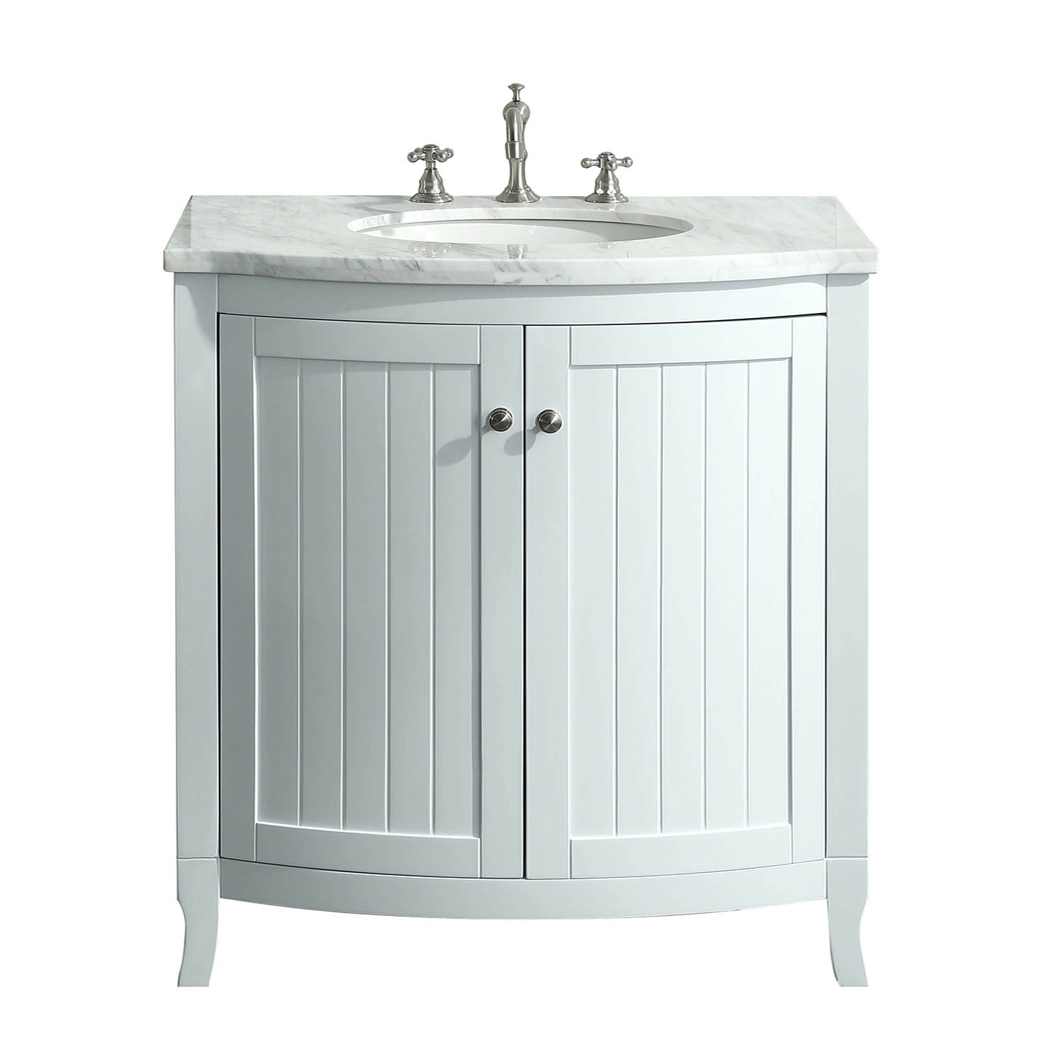 Eviva Odessa Zinx 30 White Bathroom Vanity With White Carrera Marble