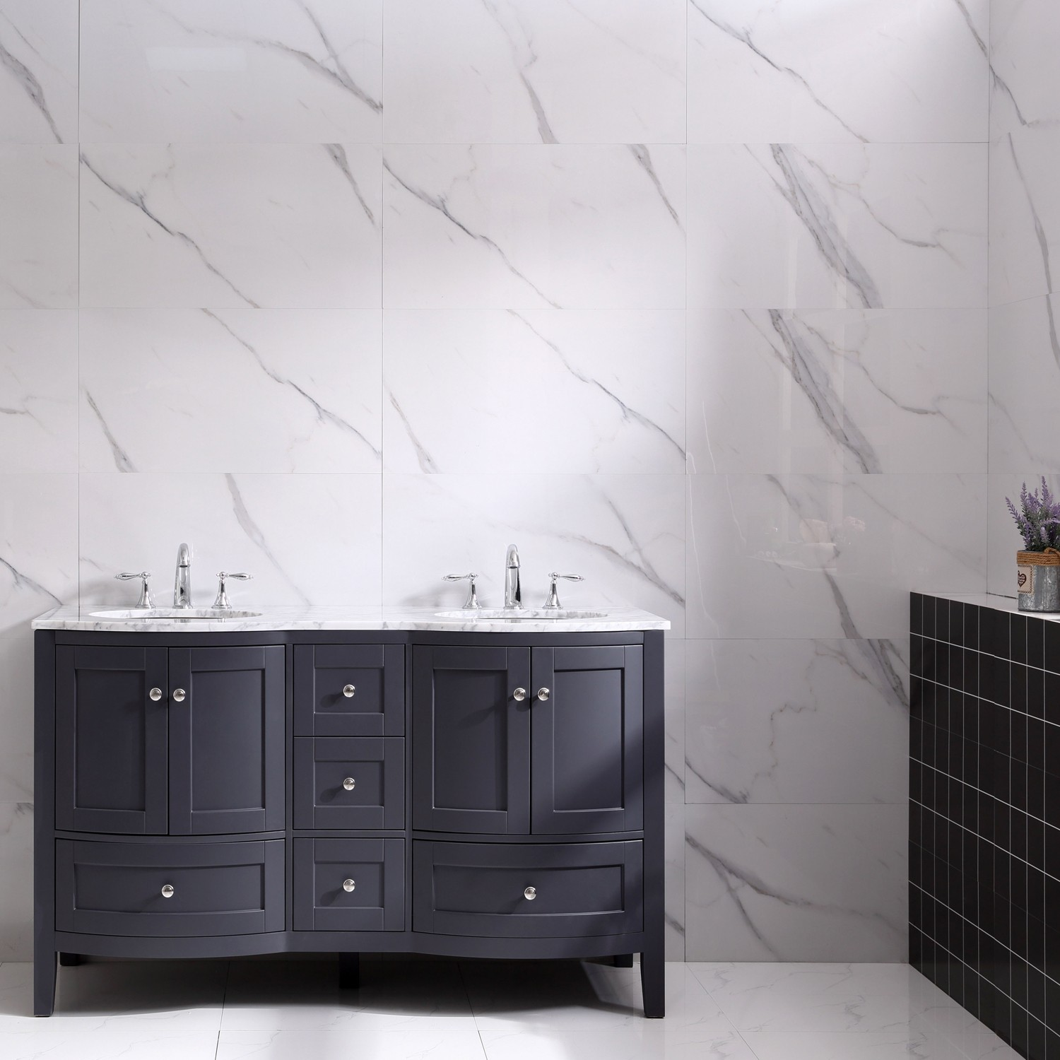 Eviva Stanton 60 Freestanding Double Sinks Bathroom Vanity in Dark Grey