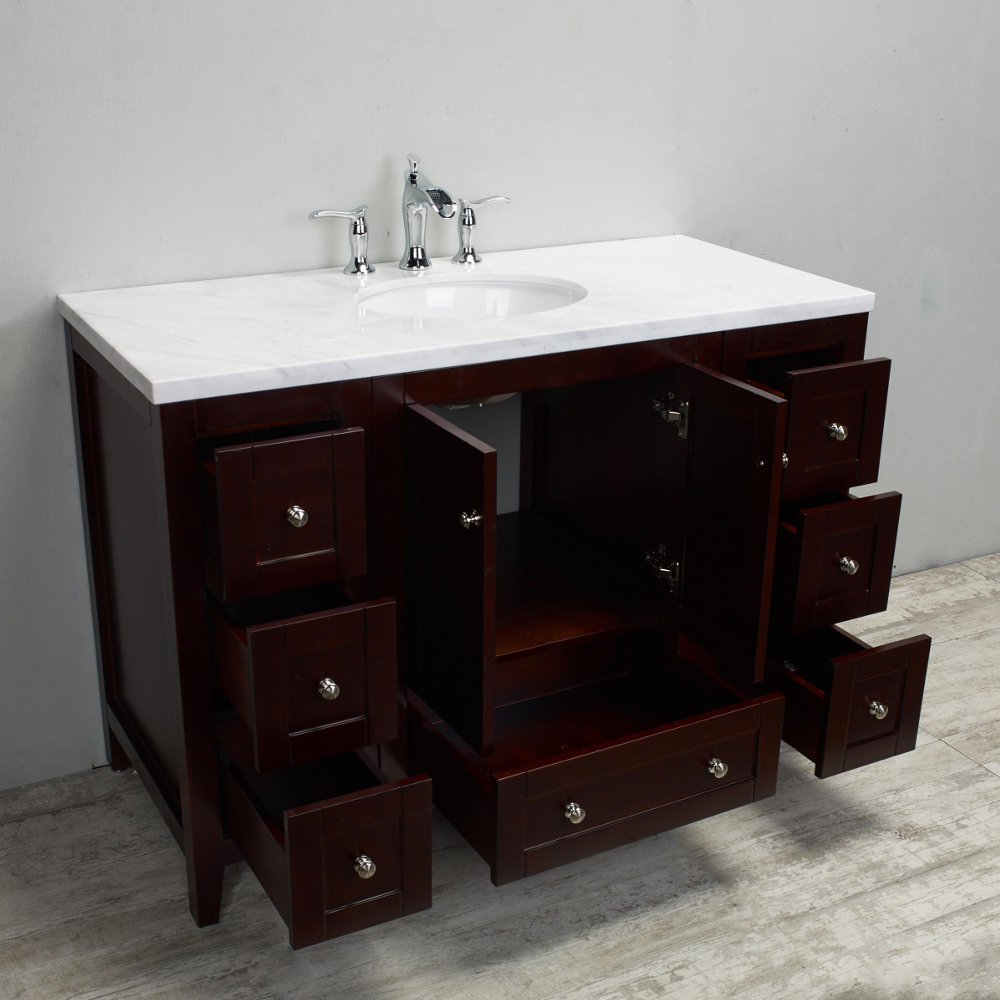 Eviva Lime 48 Quot Bathroom Vanity Teak Dark Brown With White Jazz Marble Carrera Top