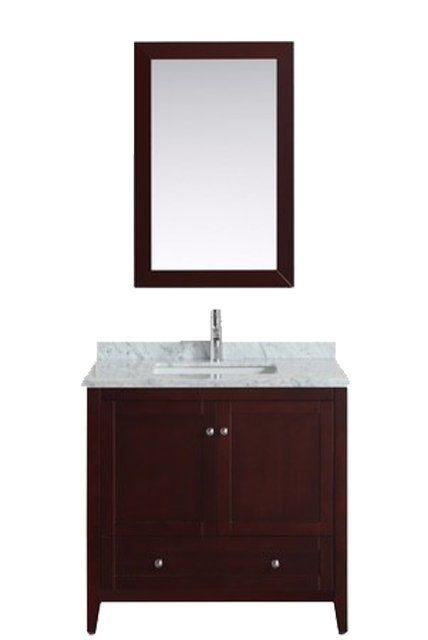 Eviva Lime 24u2033 Bathroom Vanity Teak(Dark Brown) With White Jazz Marble  Carrera Top