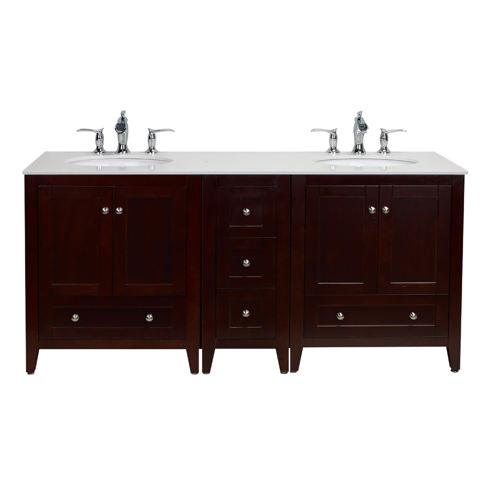Eviva Lime 72 Double Sink Bathroom Vanity Teakdark Brown With White Quartz Counter Top