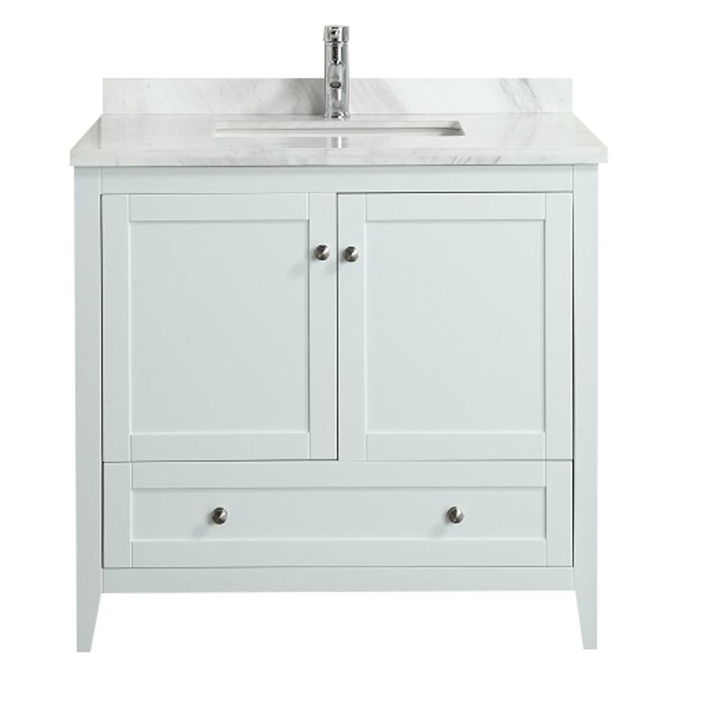 Eviva Lime 36u2033 Bathroom Vanity White With White Marble Carrera Top