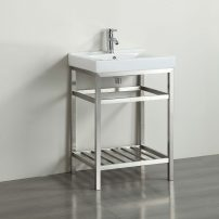 """EVVN08 24SS A 01 202x202 - Eviva Stone 24"""" Bathroom Vanity Stainless Steel with White Integrated Porcelain Top"""