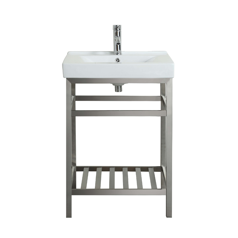 "EVVN08 24SS A Main - Eviva Stone 24"" Bathroom Vanity Stainless Steel with White Integrated Porcelain Top"
