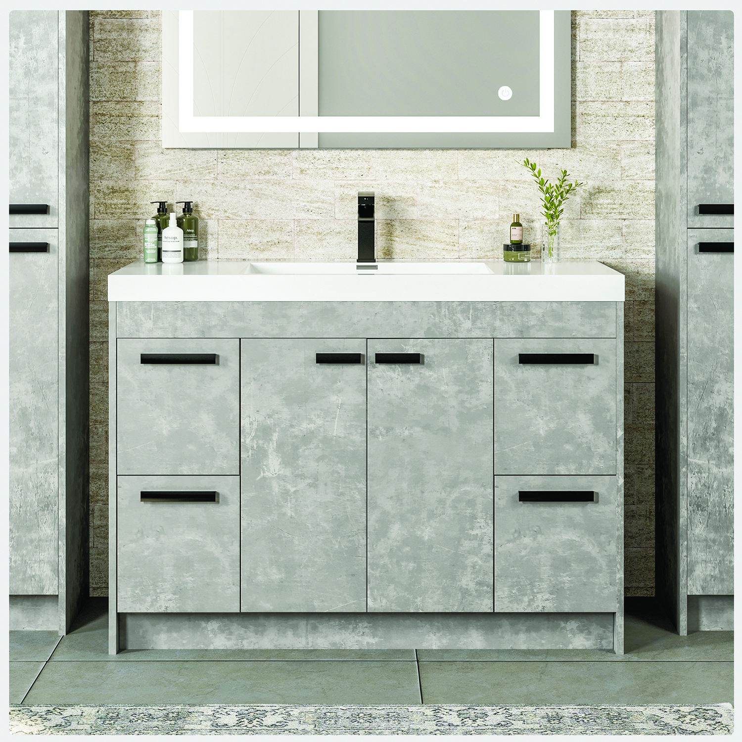 Eviva Lugano 42 Cement Grey Modern Bathroom Vanity With White Integrated Acrylic Sink Decors Us