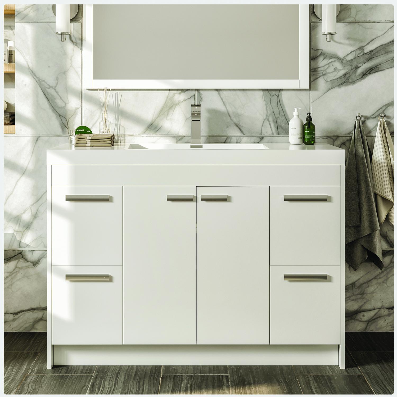 Eviva Lugano 42 White Modern Bathroom Vanity With White Integrated Acrylic Sink Decors Us