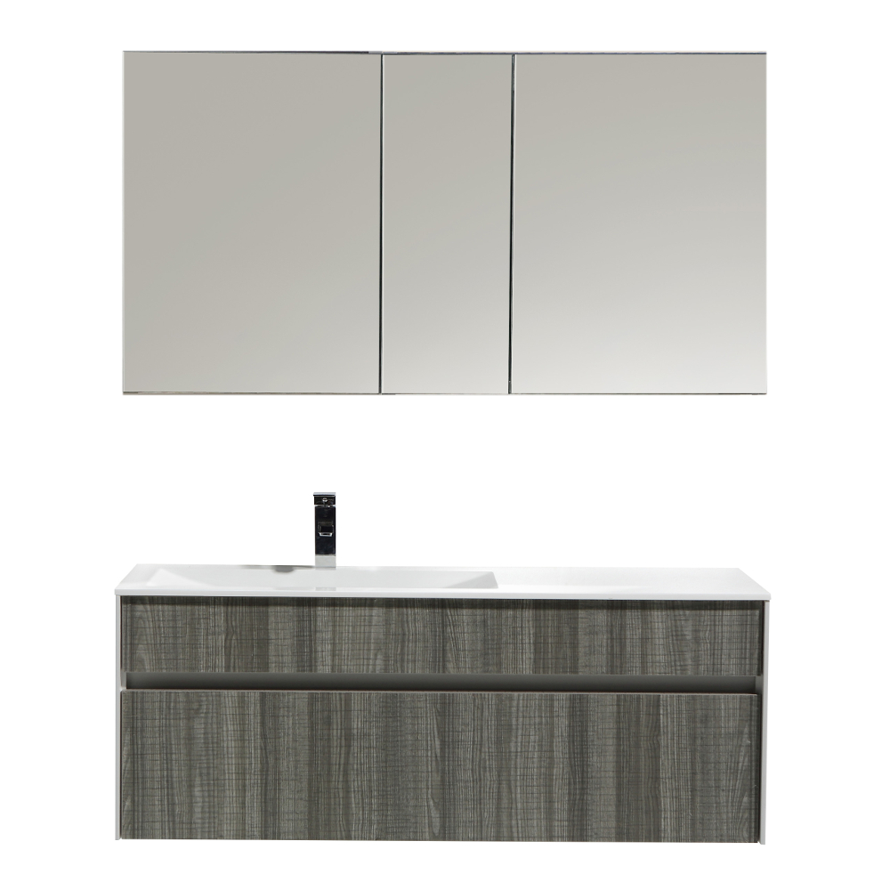 eviva ashy 48 wall mount modern bathroom vanity set high gloss ash gray grey with white integrated single sink