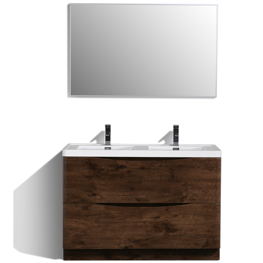 "EVVN12 DS 48RSWD FS A Main - Eviva Smile 48"" Rosewood Modern Bathroom Vanity Set with Integrated White Acrylic Double Sink"