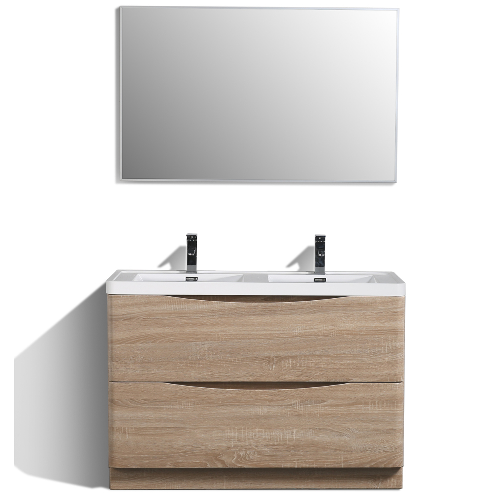 "EVVN12 DS 48WHOK FS A Main - Eviva Smile 48"" White-Oak Modern Bathroom Vanity Set with Integrated White Acrylic Double Sink"