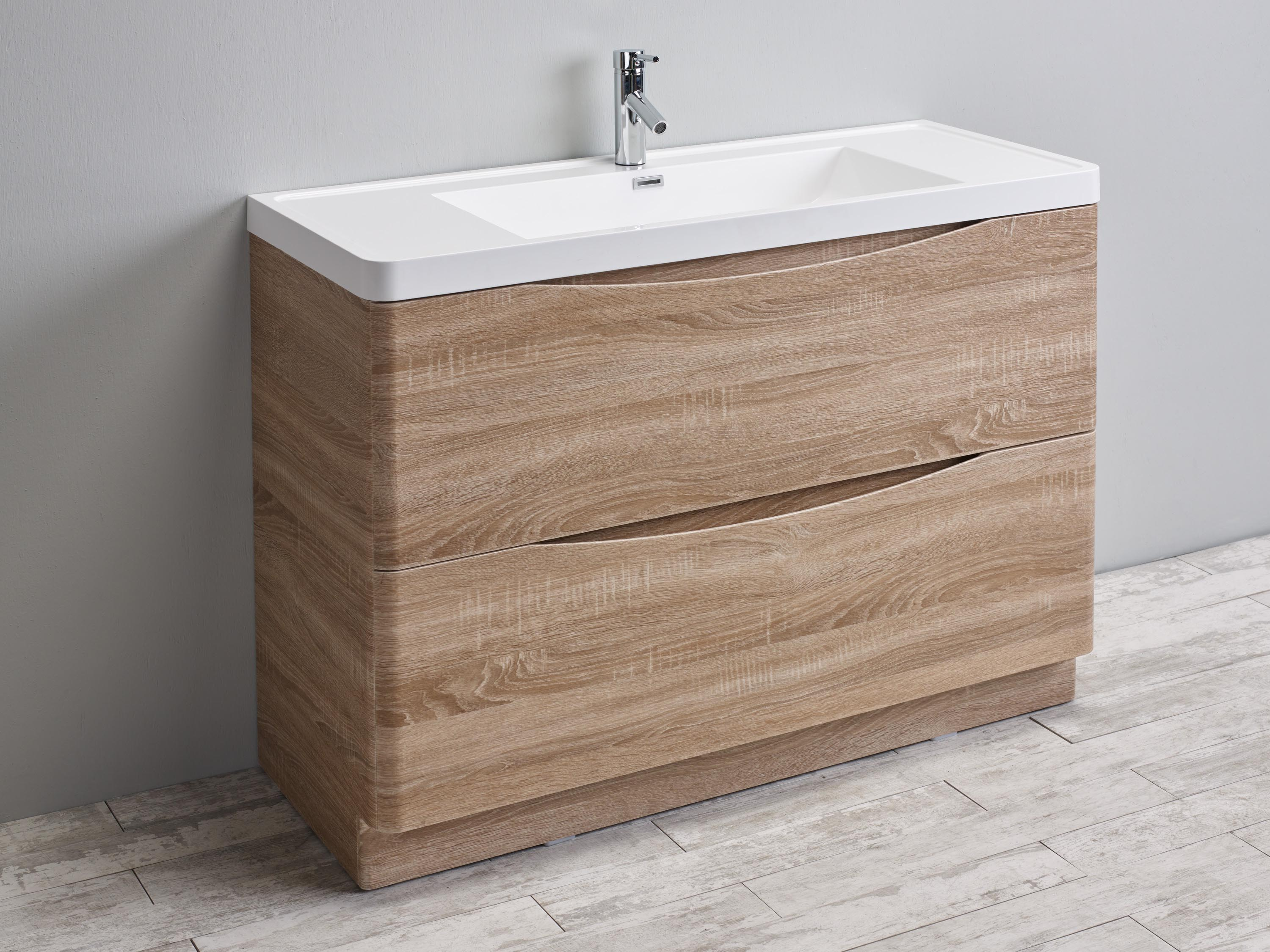 Eviva Smile 48 White Oak Modern Bathroom Vanity Set With Integrated White Acrylic Sink Decors Us