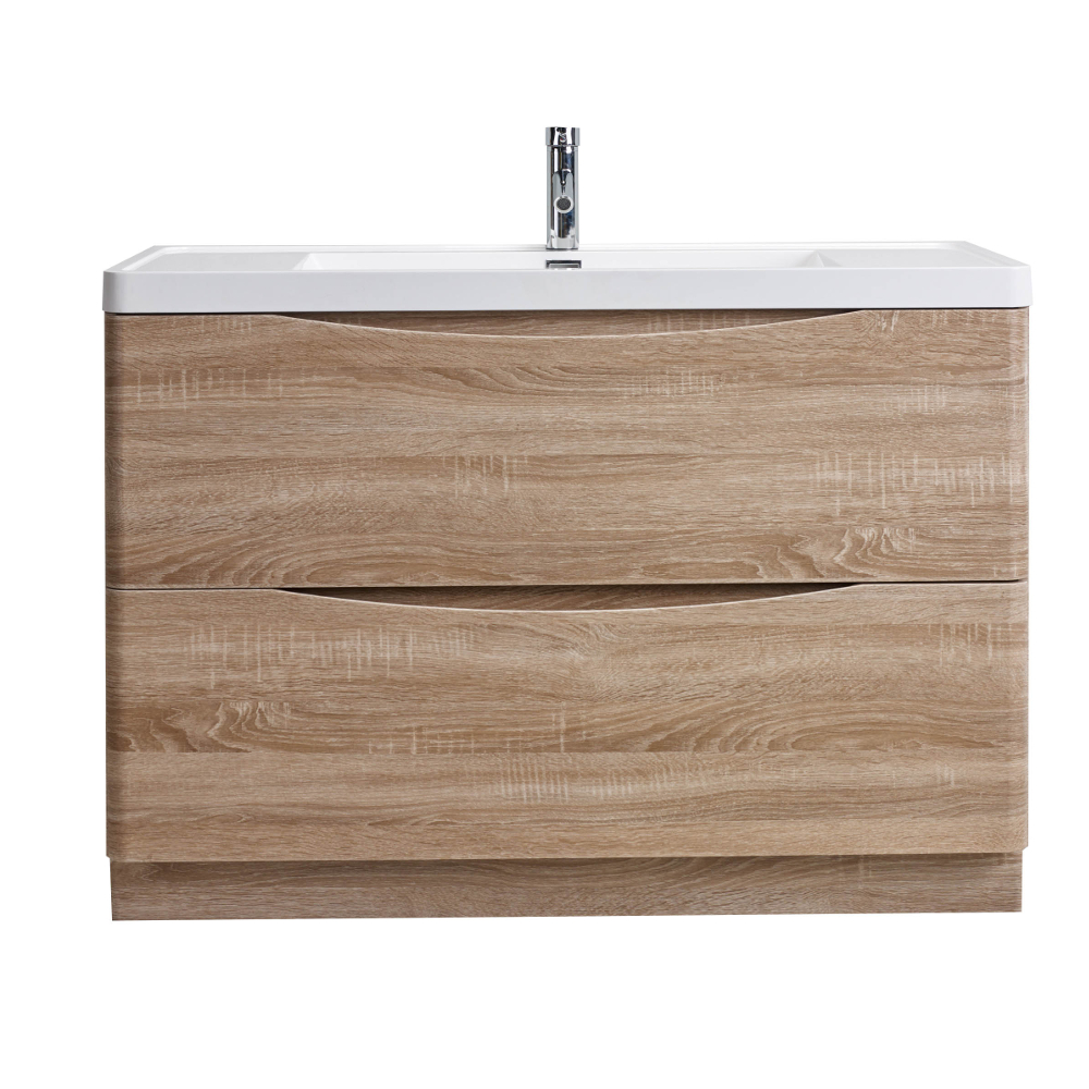 "EVVN12 SS 48WHOK FS A Main - Eviva Smile 48"" White Oak Modern Bathroom Vanity Set with Integrated White Acrylic Sink"
