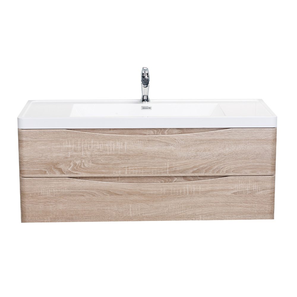 "EVVN12 SS 48WHOK WM A Main - Eviva Smile 48"" White Oak Modern Bathroom Vanity Set with Integrated White Acrylic Single Sink Wall Mount"