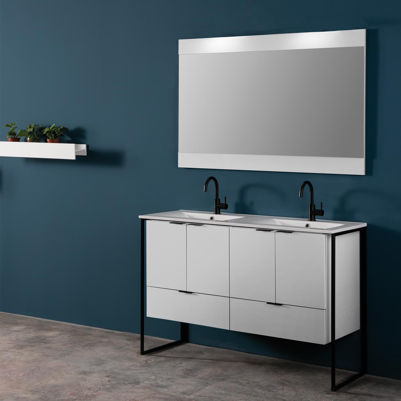 Eviva Moma 48 Inch White Double Sink Bathroom Vanity With Black Metallic Legs Decors Us